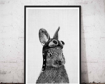 Baby Rabbit Animal Print, Printable Rabbit Art Gallery Wall, Gray Rabbit Print, Nursery Rabbit Wall Decor, Baby Bunny Rabbit Printables