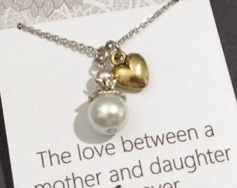 Mother of the Bride Gift-Gift for Mum Necklace -The Love Between A Mother And Daughter Is Forever - Wedding Quote - Mother Of Bride Card