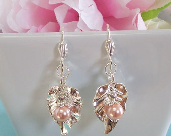 Silver Leaf and Dusty Pink Pearl Earrings Silver Bridal Bridesmaid Earrings Nature Inspired Silver Leaf Earrings Woodsy Fall Autumn Wedding