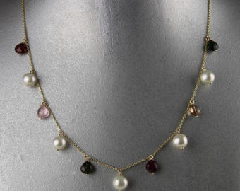 Multi Color Tourmaline Necklace with 9mm Pearl Set In 14K Gold