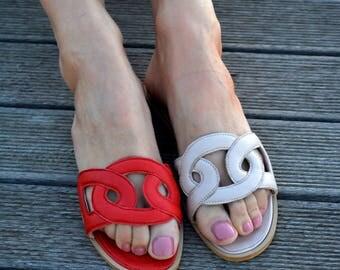 Greek leather sandals ''Omnia'', Hermes Greek sandals, Slide sandals, Summer sandals, Many Colors