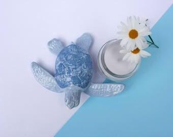 Ceramic Sea Turtle Figurine, Small fun gift idea or home decoration, Blue and purple handmade ornament, Blue pottery tortoise paperweight