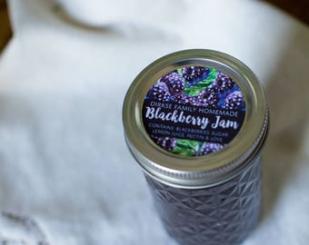 Customized Label - Blackberry Jam and Preserves, Watercolor Style Canning Jar Label - Wide Mouth & Regular Mouth - Watercolor Blackberries