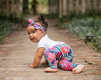 Navy Poppy Stripe Leggings for Baby, Toddler, or Girls