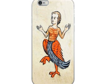 Funny unusual iPhone case with Middle Ages illuminated manuscript of Medieval woman