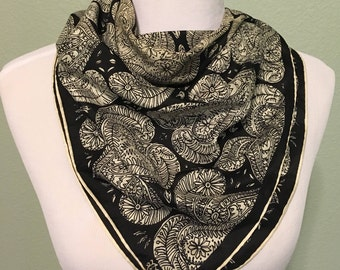 Vera Neumann Vintage Square Black and White Abstract Scarf