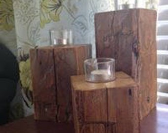 barn beam candle holders
