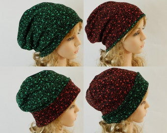 Winter beanie women Double sided beanie hat Slouchy beanie women Reversible beanie Green-red beanie Sweater knit fabric beanie stretch M-L