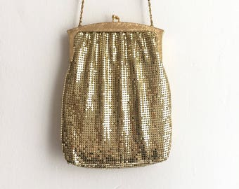 1960s Gold Purse / Whiting and Davis Evening Bag / Bridal Purse/  Made in USA Gold Mesh Purse / Gold Wedding Purse
