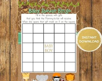 Safari Baby Shower Bingo Sports Cards - Bingo  Blank Cards - Digital Instant Download -Safari Baby Shower Boy Game- Printable -