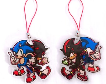 Sonic and Shadow double-sided acrylic charm