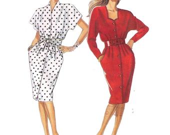 Uncut New Look 6537, 80s Sewing Pattern, Size 8-20 Women's Button Down Dress Short Sleeve Beach Dress Tie Waist