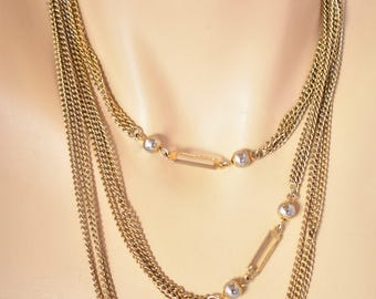 Vintage Multi Strand Geometric Draping Chain Necklace Gold Tone Boho Flapper Style Retro Costume Jewelry 54""