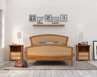 Bed Frame King Size, Headboard, Platform Bed, Queen, Art Deco, Handmade, Wood, Cherry, Curly Maple, Inlay