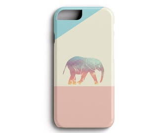 Elephant iPhone Case - Cute Pastel Ombre Geometric Elephant - iPhone 5, 5S, 5SE, 6, 6S, 6 Plus