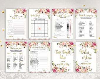 Floral Bridal Shower Games Printable Boho Bridal Shower Games Advice For The Bride Bingo He Said She Said Purse Game Who Knows Bride Best