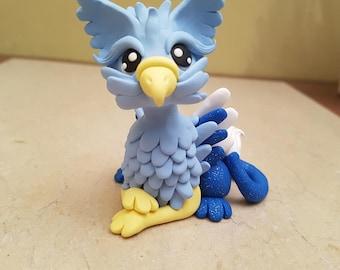 Blue Griffin Sculpture, handmade gryphon figurine, polymer clay fantasy creature, miniature griffin art, original birthday gift, clay bird