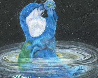Space Otter, Color pencil otter drawing, Otter Space, Juggling Otter, Nature Gift, Otter Giclee Print, Otter Art Print, Celestial Art