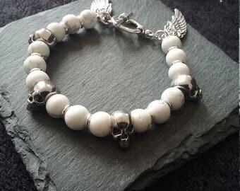 Silver Skull & Angel Wing White Howlite Gemstone Bracelet