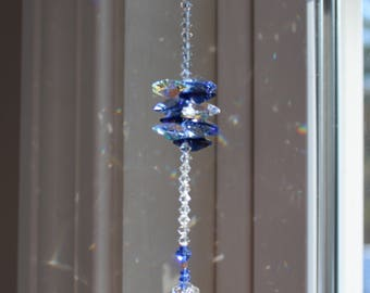 Swarovski Large 35mm Snowflake with Octagon Stack Sun Catcher, Rainbow Maker, Window Prism for Home or Car