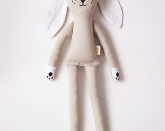 Warm Grey Bunny Rabbit Soft Toy: handmade with organic cotton