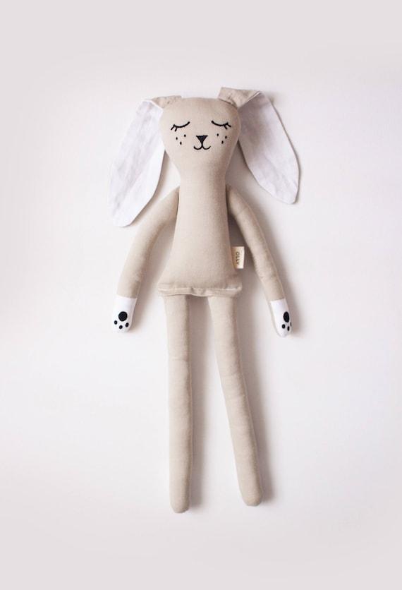 Warm Grey Bunny Rabbit Soft Toy: handmade with organic cotton