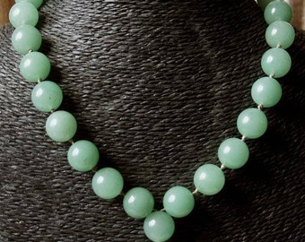 "Necklace ""Burmese ballad"" collection ""distant Asia"" in big round aventurine beads."