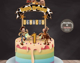 Woody Cake Topper, Toy Story Cake Topper, Woody Banderin, Woody Party, Woody Birthday, Cowboy Party, Toy Story Birthday, Custom Topper