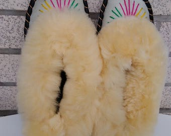SALE | Cheap leather slippers l sheepskin moccasins l slippers handmade l
