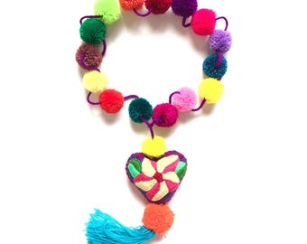 Pom pom necklace, Pom pom tassel, Heart felt pom pom, Hippie necklace, Pom pom garland, Pom pom tassel, Mexican jewerly, Mexican folk art