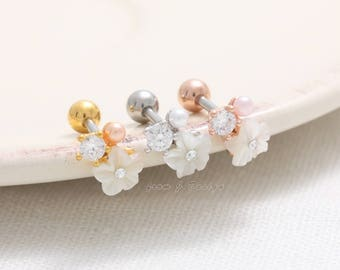 Flower Mother of Pearl CZ with Tiny Pearl Barbell Ear Piercing, CZ Cartilage Piercing-16G/ 1pcs