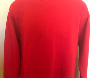 80s Russell Jerzees Sweatshirt Vintage Gym Workout Crewneck Retro Soft Tee Pullover Sport Athletic Baseball Jumper Red Large L Made in USA