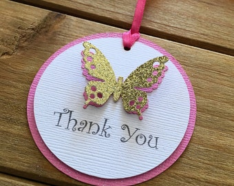 12 Butterfly Tags, Butterfly Favor Tags, Butterfly Baby Shower, Butterfly Thank You Tag, Pink and Gold Party, Birthday, butterfly party