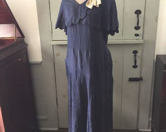 1920's royal blue drop waist dress