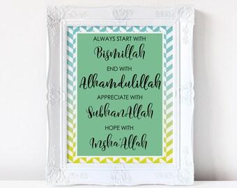 Islamic wall art, Bismillah, Alhamdulillah, Instant Download