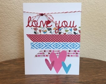 Valentine card homemade; homemade Valentine card; Valentine card with hearts; Valentine card love you; Valentine card washi tape