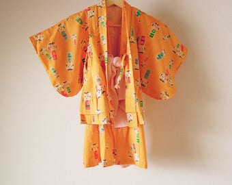 Vintage Japanese Kid's Kimono & Haori Set / For 2 years old