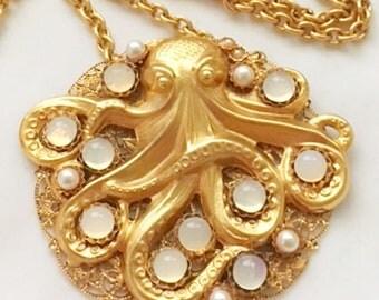 Steampunk Octopus-24kt gold plated, Handmade Original