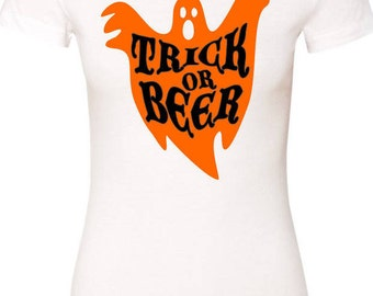 Halloween Womens Trick or Beer Shirt - Craft Beer TShirt