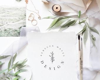 Rustic Logo Design - Pre Made Logo - Minimalist Logo - Business Branding - Flower Logo - Nature Branding - Flower Branding