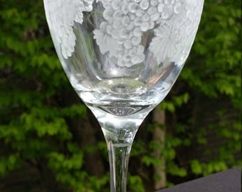 Grapes on Glass, wineglass, engraving