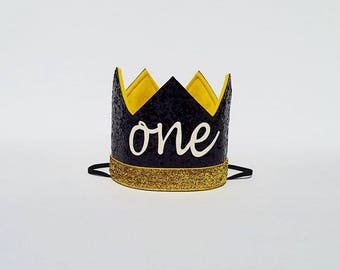 Wild One Black and Yellow First 1st Birthday Crown for Outfit Baby Boy Cake Smash Photo Prop Pictures with ONE Cursive Script King Prince