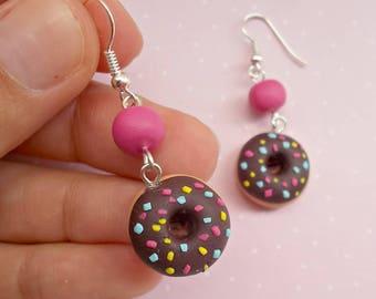 Chocolate donut earrings, Handmade polymer clay miniature food jewelry, Dangle earrings, Cute gift for her