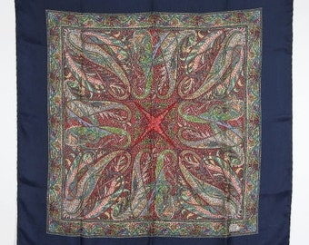 """Liberty of London scarf in multicolored paisley with Navy border. Hand rolled hem 27"""" square.  Classic!!"""