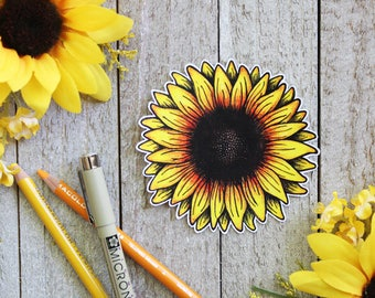 Hand Drawn Sunflower Waterproof Sticker