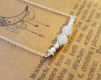 Natural Moonstone and Freshwater Pearl Necklace June Birthstones