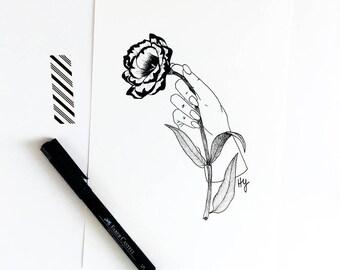 Lisianthus Botanical Illustration, Gardener Gift, Housewarming Gift Idea, Minimalist Living Room Dining Room Bedroom Wall Decor