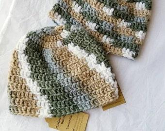 Cozy Camo Baby Crochet Skullcap 0-3 Months Birdseed Baby Beanie