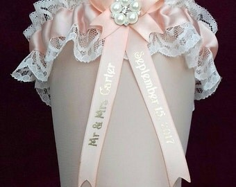 Peach Apricot Personalised Wedding Garter with Lucky Sixpence