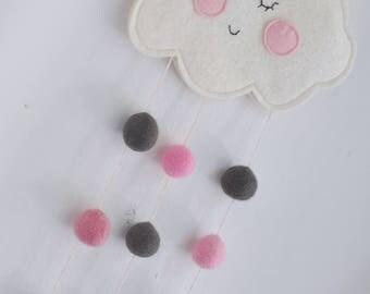 Powder pink- grey- white cloud babymobile